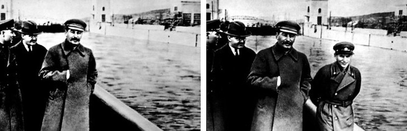 . circa 1930:  Stalin routinely air-brushed his enemies out of photographs. In this photograph a commissar was removed from the original photograph after falling out of favor with Stalin.  SOURCE: http://www.cs.dartmouth.edu/farid/research/digitaltampering/stalin1+2.jpg