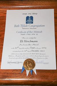 Dec 13-14th Eli Hirschmann Bar Mitzvah