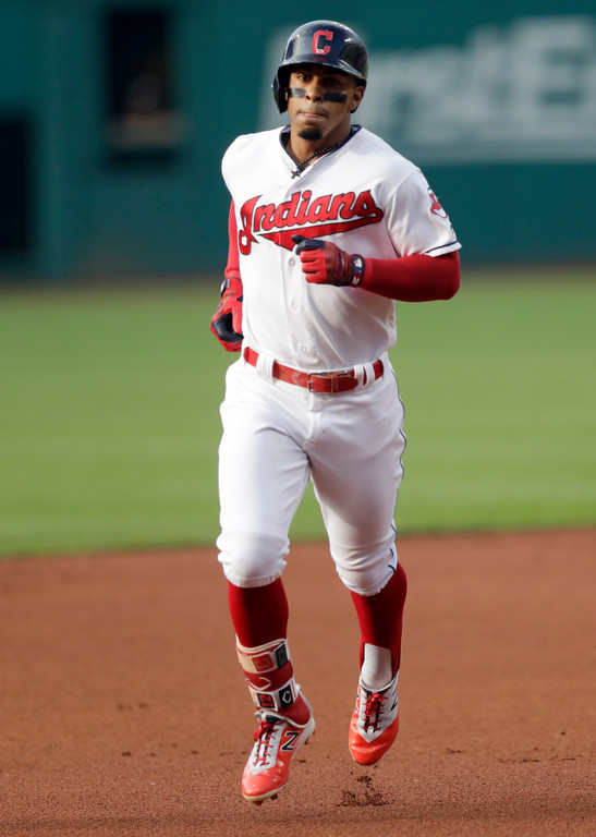 . Cleveland Indians\' Francisco Lindor runs the bases after hitting a solo home run off Cincinnati Reds starting pitcher Sal Romano durign the first inning of a baseball game Tuesday, July 10, 2018, in Cleveland. (AP Photo/Tony Dejak)