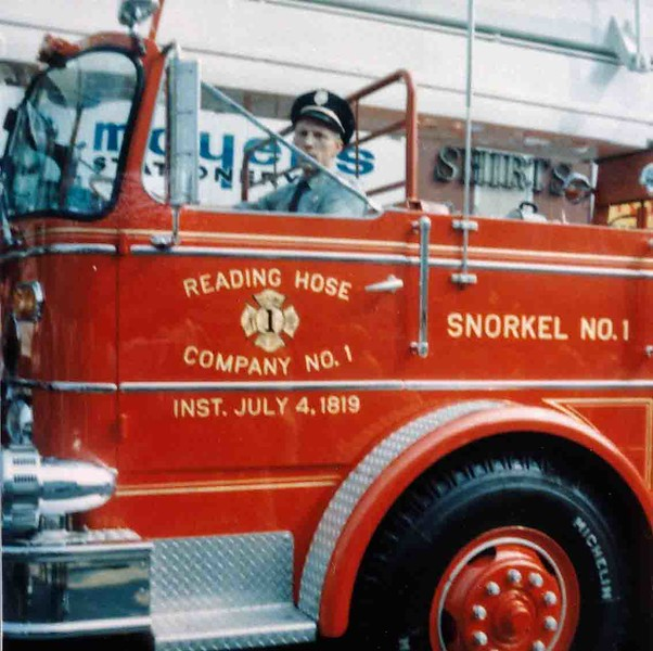Earl Bansner at the helm of the new Snorkel during the 1968 Labor Day Parade. Photo courtesy of the Bansner family.