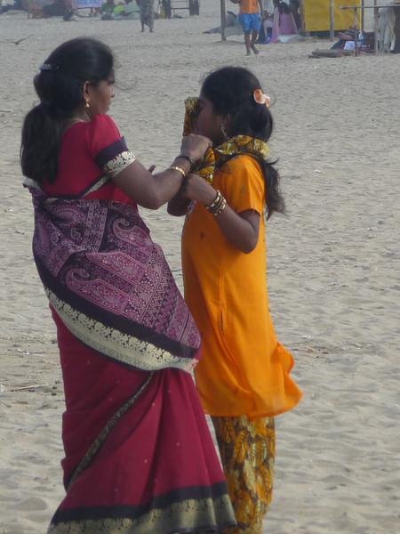 Mother and daughter preparing to leave