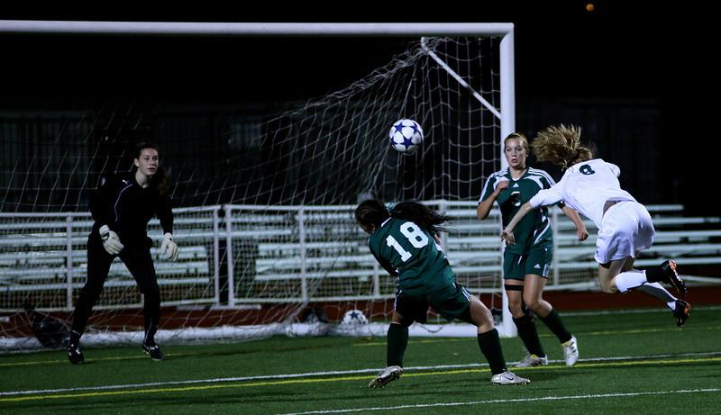Molly Stinson, Megan McCallum, Alex Blaser Woodinville High Girls Varsity Soccer verse Skyline High October 20, 2011, ©Neir