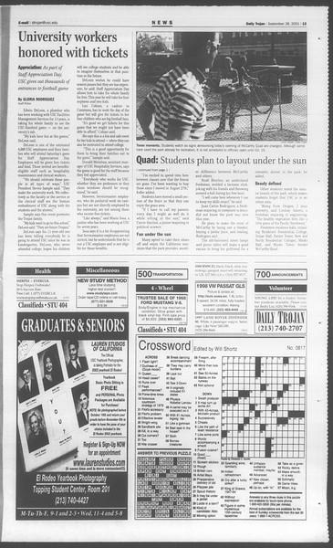 Daily Trojan, Vol. 144, No. 22, September 28, 2001