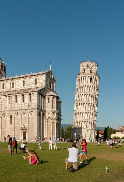 Tourists at Piazza dei Miracoli, Pisa, Italy