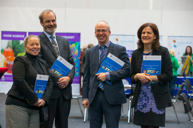07/03/2018. Waterford Institute of Technology Labatory Sciences Careers Day at The Arena. Pictured are Dr. Eleanor Owens, Dr. Jonathan Derham EPA, Dr. Peter McLoughlin and Dr. Nabla Kennedy. Picture: Patrick Browne