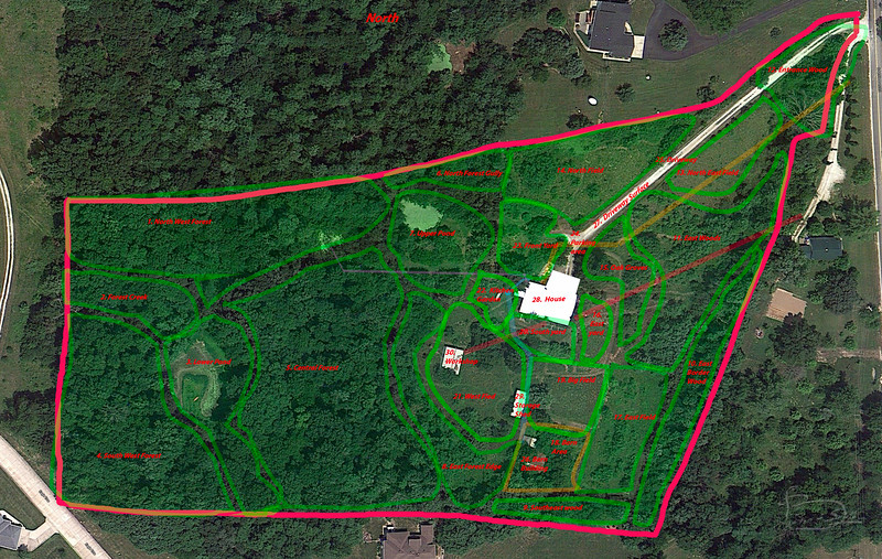 The property divided into areas that overlap but can mostly be worked with as units.