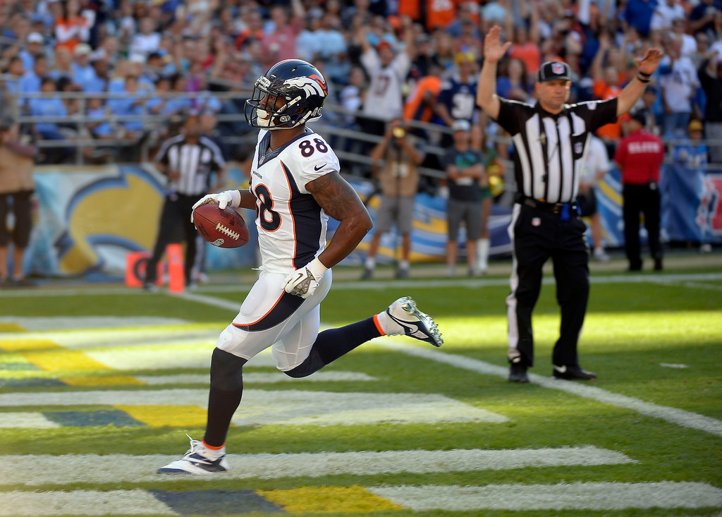 . Denver Broncos wide receiver Demaryius Thomas (88) gets in the end zone for a touchdown in the third quarter avians the San Diego Chargers at Qualcomm Stadium. (Photo by John Leyba/The Denver Post)