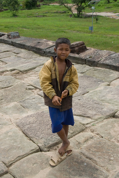 A child inside the Preah Vihear Temple in Cambodia