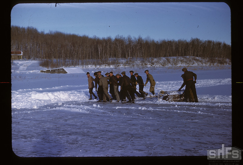 Clearing Ice for Skating Frenso. Y-T-S. Kenosee.  11/25/1946