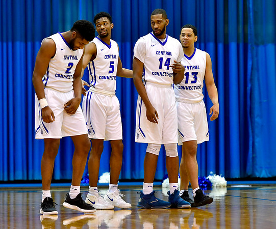 3/2/2019 Mike Orazzi | Staff CCSU's Kashaun Hicks (2), Chris Williams (5), Dion Bute (14) and Tyson Batiste (13) during Saturday's Mens basketball game in New Britain.