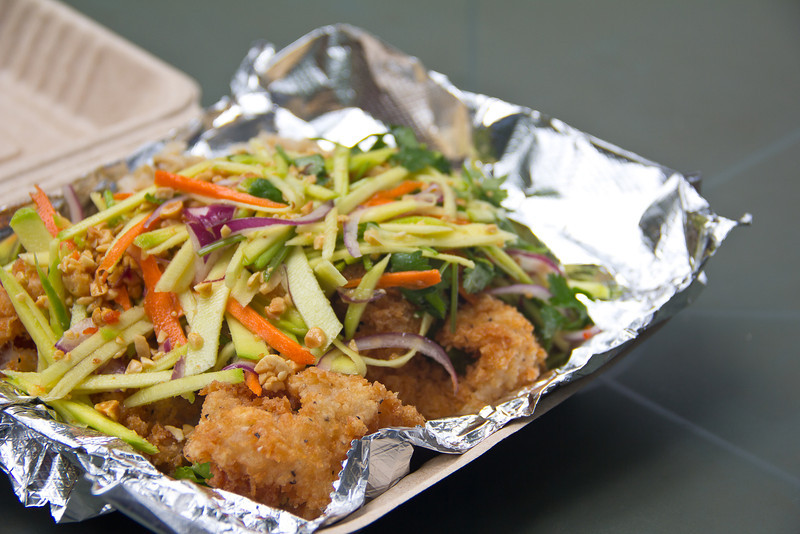 Thai food by Pranee crispy opakapaka with mango salad.jpg