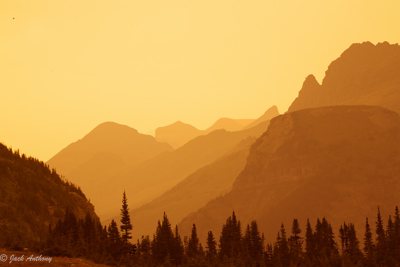 Smoky day at Glacier National  Park, Montana