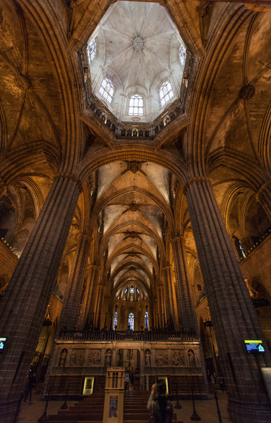 The inside of Barcelona Cathedral.