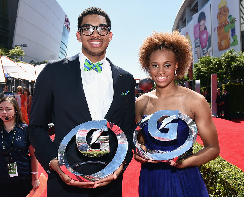 . LOS ANGELES, CA - JULY 16:  Gatorade Athletes of the Year Brianna Turner (L) and Karl-Anthony Towns attend The 2014 ESPYS at Nokia Theatre L.A. Live on July 16, 2014 in Los Angeles, California.  (Photo by Michael Buckner/Getty Images For ESPYS)
