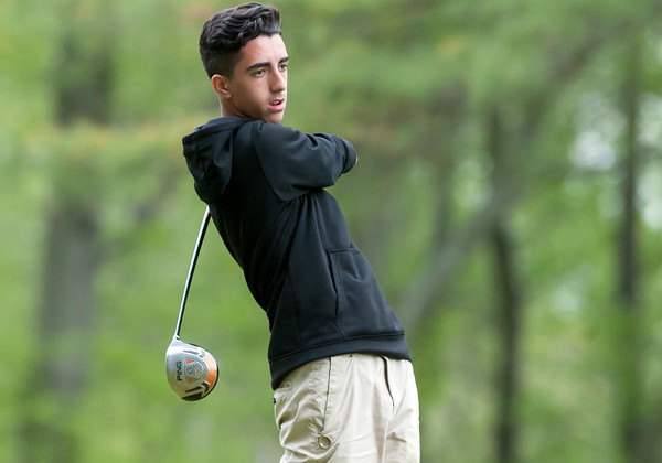 05/10/18 Wesley Bunnell | Staff New Britain golf defeated Bristol Eastern 212-219 at Stanley Golf Course on Thursday afternoon. New Britain's Johnny Morell tees off.