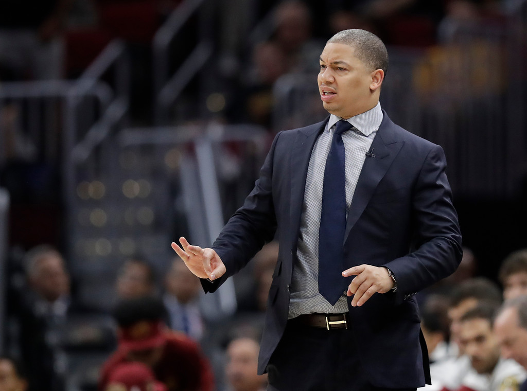 . Cleveland Cavaliers coach Tyronn Lue calls a play during the second half of Game 4 of basketball\'s NBA Finals against the Golden State Warriors, Friday, June 8, 2018, in Cleveland. (AP Photo/Tony Dejak)