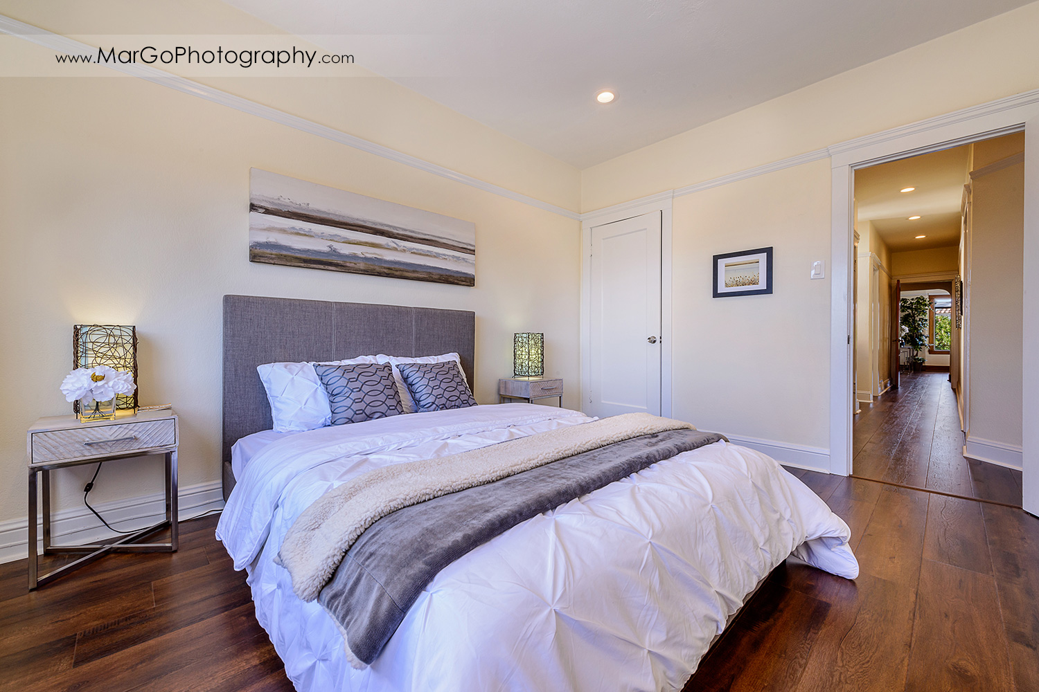 San Francisco house bedroom with hall view - real estate photography