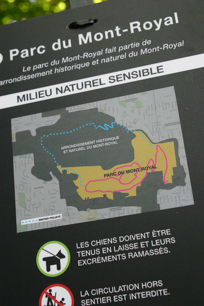 """In case you want to know how to say """"keep your dog on leash and pick up after him"""" in French.  With one of those maps that shows the main roads but not, say, the path I was on."""