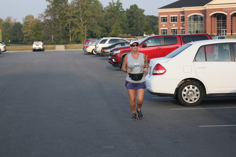 Local woman warms up for the race
