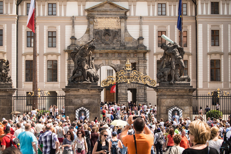 Prague Castle - crowds gathering to watch the changing of the guard