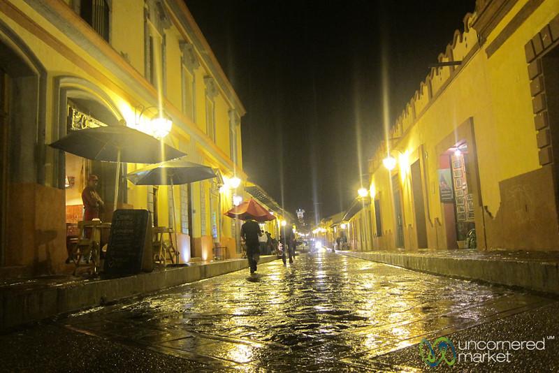 Nightime and Rain in San Cristobal de las Casas, Mexico