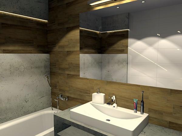 Beton a dřevo v koupelně