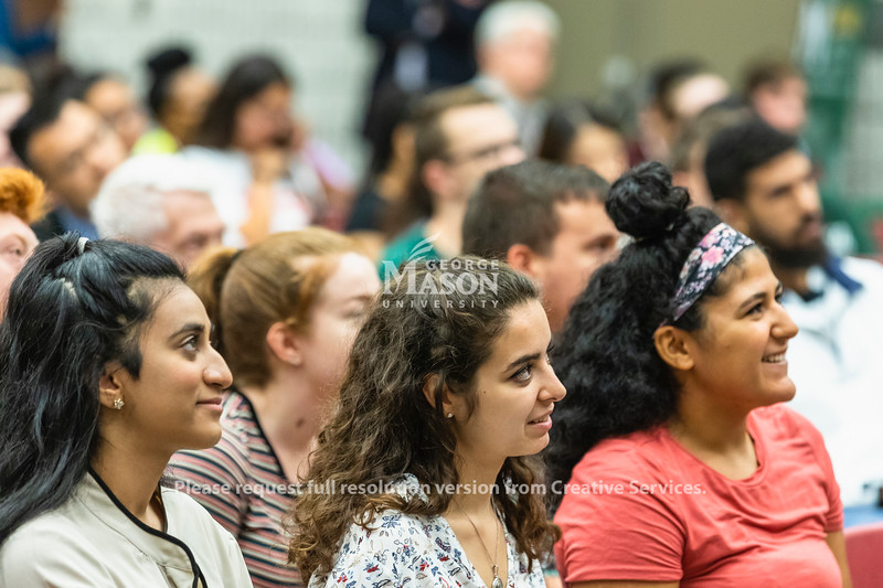 People listen as Sen. Mark Warner (D-Va.) speaks during a town hall at George Mason University. Photo by Lathan Goumas/Office of Communications and Marketing   Photo Taken:Friday, September 13, 2019