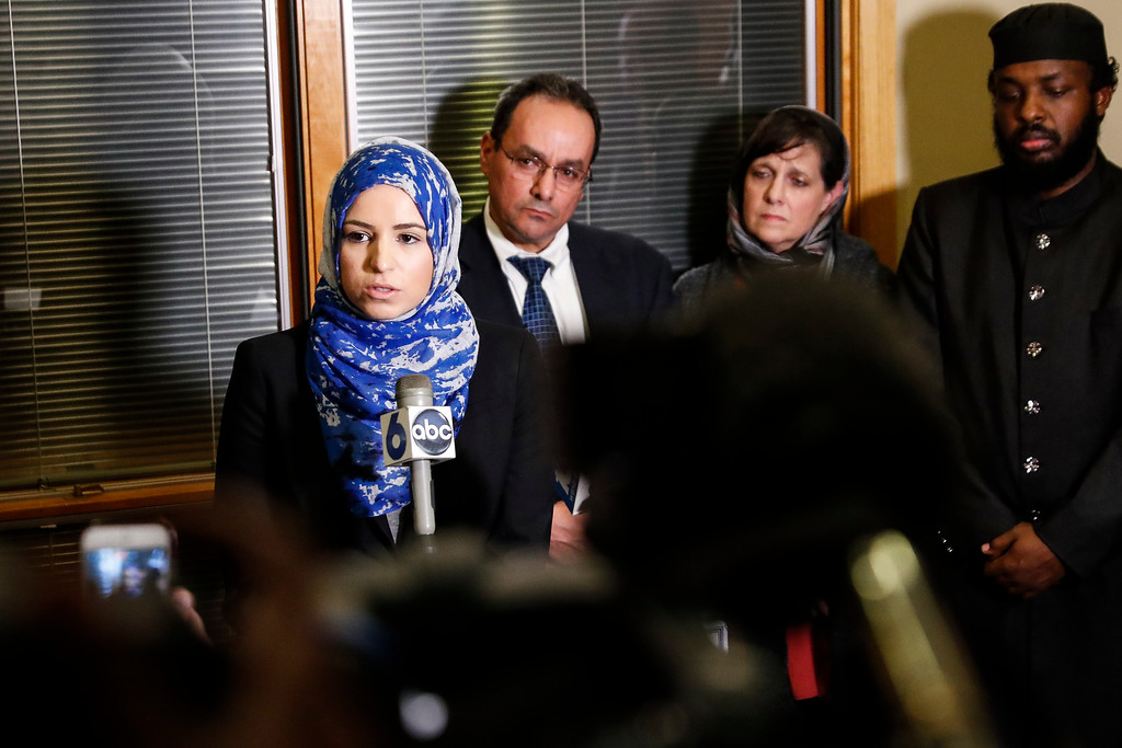 . Roula Allouch, board chair of the Council On American-Islamic Relations, left, speaks during a news conference regarding an earlier attack at the Ohio State University campus, Monday, Nov. 28, 2016, in Dublin, Ohio. A Somali-born Ohio State University student plowed his car into a group of pedestrians on campus and then got out and began stabbing people with a knife Monday before he was shot to death by an officer. (AP Photo/John Minchillo)