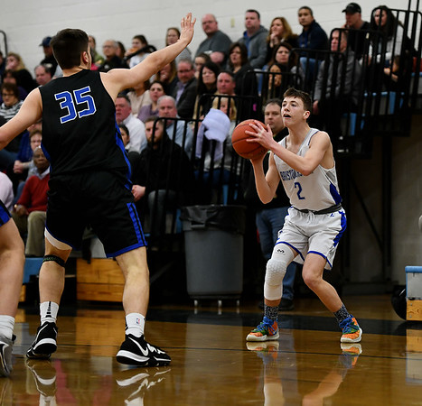 2/18/2020 Mike Orazzi | StaffrBristol Eastern High School's Elijah Parent (2) against Tolland in Bristol on Tuesday night.