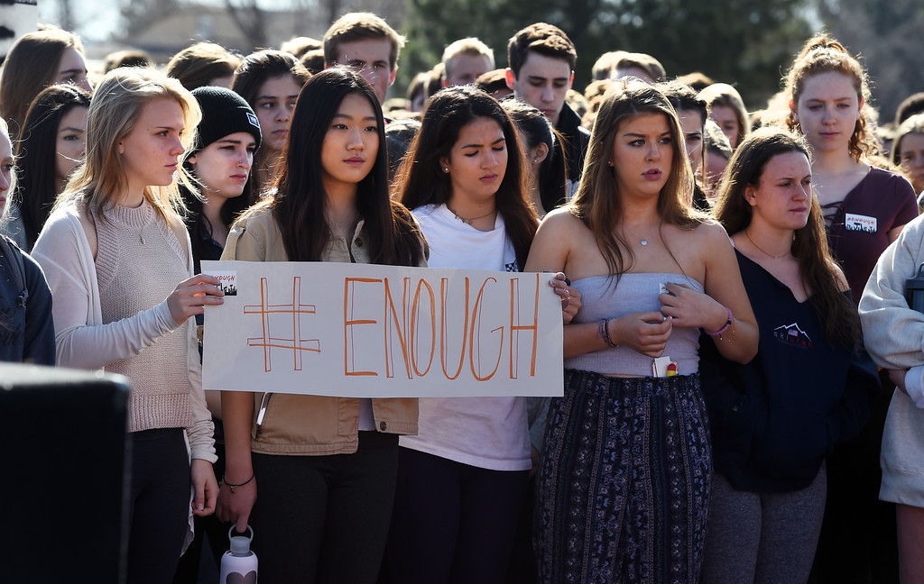 . Hundreds of Fairview students listen to speakers during the walkout  at Fairview High School in Boulder. Students at schools across Boulder County and Broomfield walked out of class around 10 this morning as they took part in the nationwide protest of gun violence on the one-month anniversary of the massacre at a high school in Parkland, Fla., that left 17 dead. Cliff Grassmick  Photographer  March 14, 2018