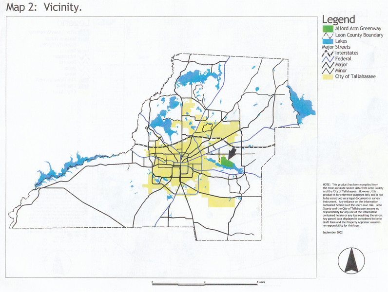 """J. R. Alford September 2002 DRAFT Management Plan Map 2: """"Vicinity"""" map in Leon County."""