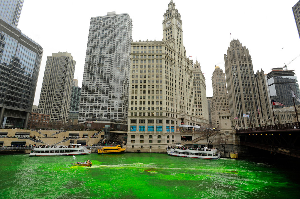 . The Chicago River is dyed green right before the start of the St. Patrick\'s Day parade in Chicago, Saturday, March, 16, 2013.  With the holiday itself falling on a Sunday, many celebrations were scheduled instead for Saturday because of religious observances. (AP Photo/Paul Beaty)