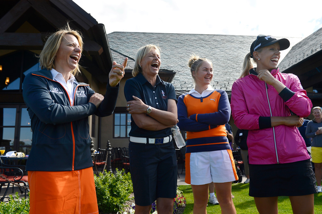 . From left to right, 2013 Solheim Cup European assistant captain, Annika Sorenstam, European captain, Liselotte Neumann, golfer, Charley Hull and golfer, Pernilla Lindberg have a laugh watching a golfer during a chipping contest at the Colorado Golf Club on media day in Parker Colorado, June 02, 2013. (Photo By Andy Cross/The Denver Post)