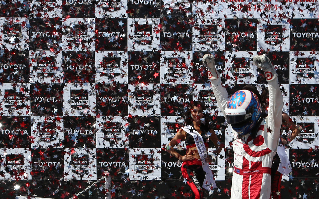 . Scott Dixon Celebrates his victory at the 41st Toyota Grand Prix of Long Beach, Sunday April 19th, 2015.  Chuck Bennett/Staff Photographer.