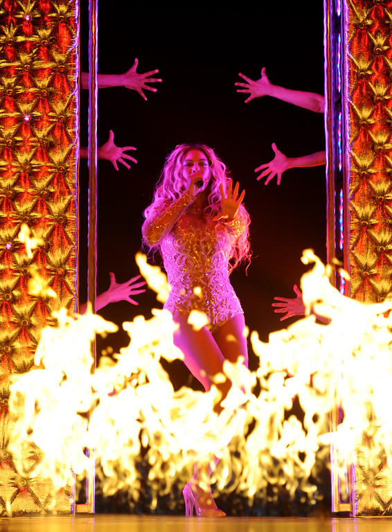 ". Singer Beyonce performs on her ""Mrs. Carter Show World Tour 2013\"", during the BET Experience music festival on Friday June 28, 2013, in Los Angeles. (Photo by Frank Micelotta/Invision for Parkwood Entertainment/AP Images)"