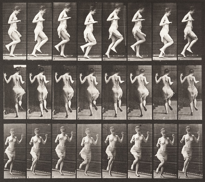 Semi-nude woman hopping on left foot (Animal Locomotion, 1887, plate 185)