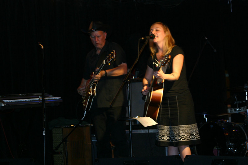 Eilen Jewell, with Jerry Miller on electric guitar and Jason Beek on drums and background vocals.