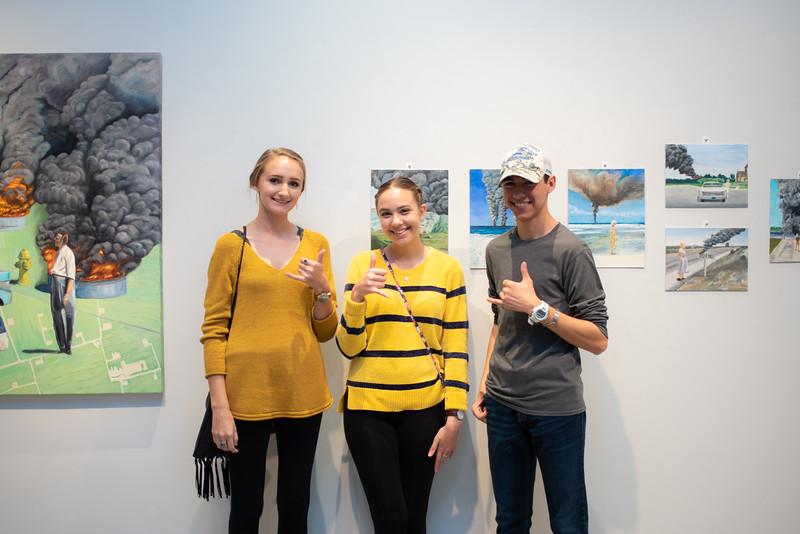 Chelsi Jacobson(left), Alina Siddiqui and Marc Ansaldi at the Islander Art Gallery.