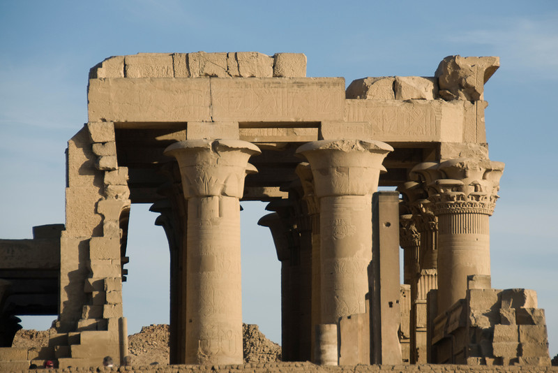 Closer shot of the pillars and facade of Temple of Kom Ombo - Komombo, Egypt