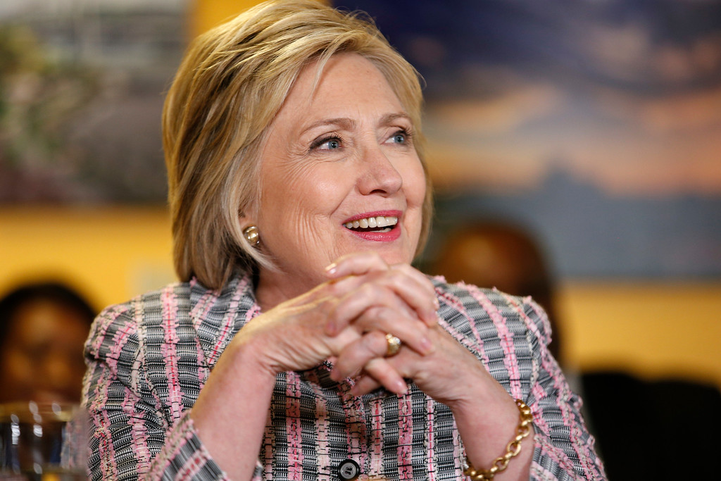 . Democratic presidential candidate Hillary Clinton speaks at an event at the Good Day Cafe, Sunday, June 5, 2016, in Vallejo, Calif. (AP Photo/John Locher)