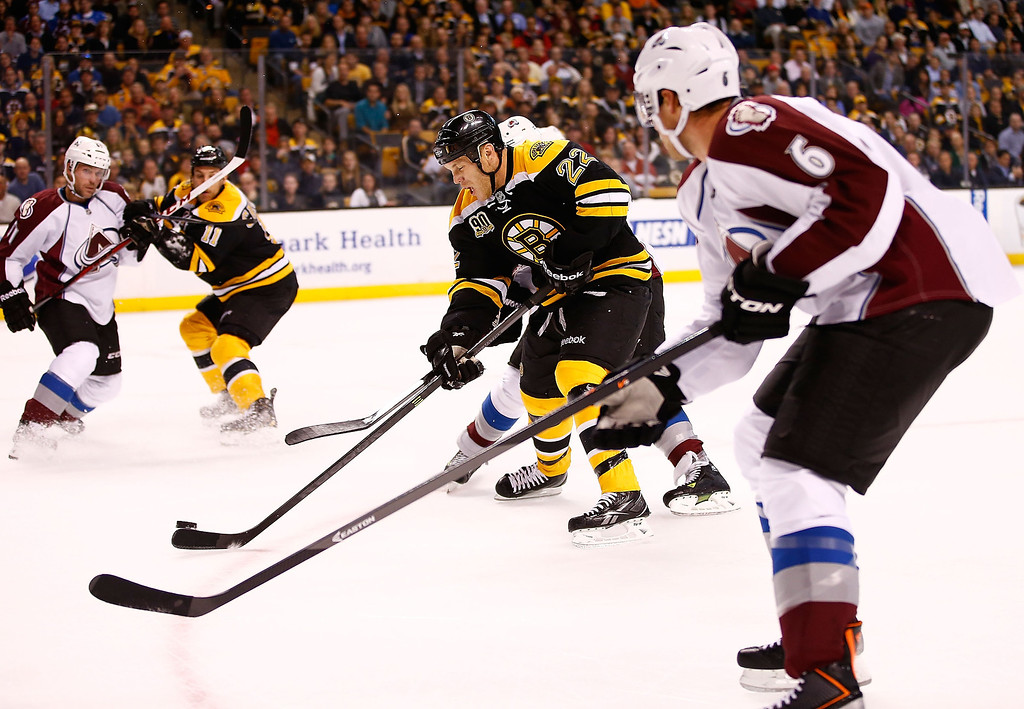 . Shawn Thornton #22 of the Boston Bruins carries the puck down the ice against Erik Johnson #6 of the Colorado Avalanche in the first period during the game on October 10, 2013 at TD Garden in Boston, Massachusetts. (Photo by Jared Wickerham/Getty Images)
