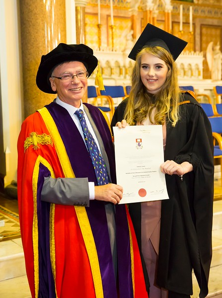 1/11/2017Waterford Institute of Technology conferring ceremony. Tamara Lewis from New Ross, Co.Wexford graduating with a Batchelor of Arts (Honours) in Criminal Justice Studies with Prof Willie Donnelly WIT president. Photo;Mary Browne