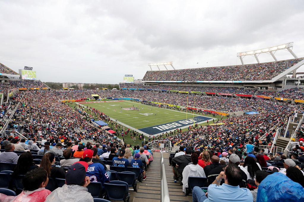 . A general view of Camping World Stadium during the NFL Pro Bowl football game, Sunday, Jan. 28, 2018, in Orlando, Fla. (AP Photo/Doug Benc)