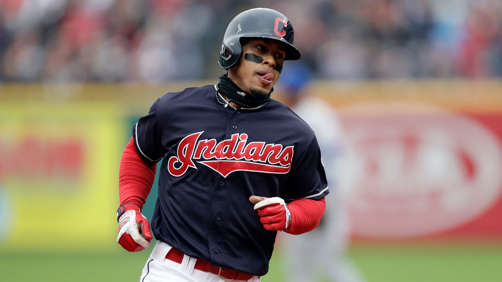 . Cleveland Indians\' Francisco Lindor runs the bases after hitting a solo home run in the third inning of a baseball game against the Kansas City Royals, Saturday, May 12, 2018, in Cleveland. (AP Photo/Tony Dejak)