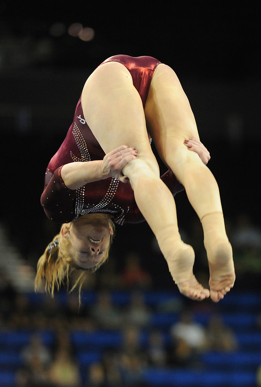 . Alabama\'s Ashley Priess competes in the floor exercise Friday, April 19, 2013, at the NCAA Women\'s Gymnastics Championships at Pauley Pavilion. (Michael Owen Baker/Staff Photographer)