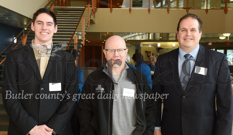 (left - right) Drew Spangler, Butler County Chamber of Commerce; John Morrow, guest; Scott Semrau, CommData.