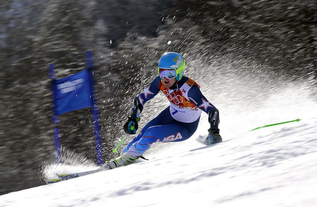 . US skier Ted Ligety competes during the Men\'s Alpine Skiing Giant Slalom Run 1 at the Rosa Khutor Alpine Center during the Sochi Winter Olympics on February 19, 2014. AFP PHOTO / FABRICE COFFRINI  /AFP/Getty Images