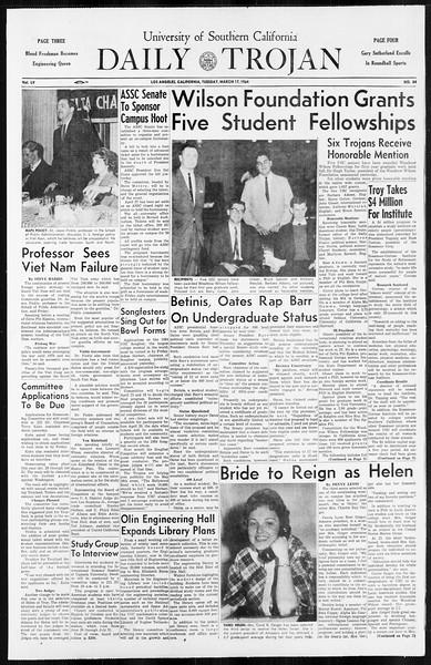 Daily Trojan, Vol. 55, No. 84, March 17, 1964