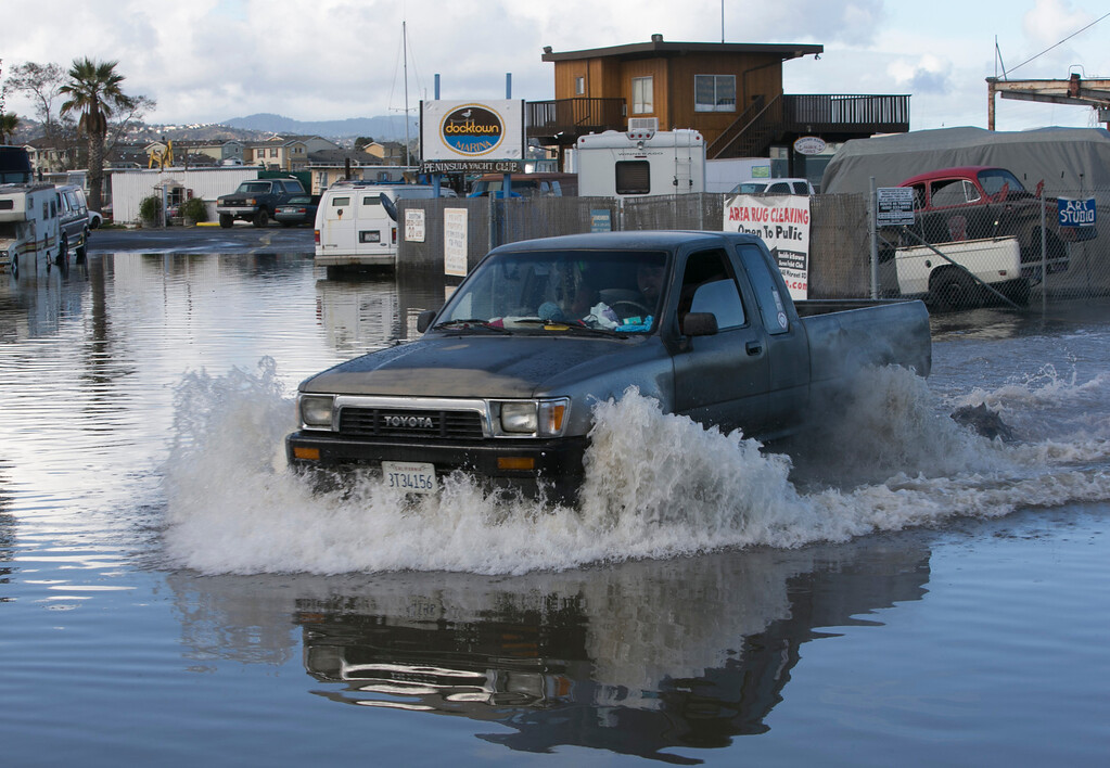 . High tides cause flooding near the Docktown Marina in Redwood City, Calif., on Wednesday, Dec. 12, 2012 at 12:12 p.m. (John Green/Staff)