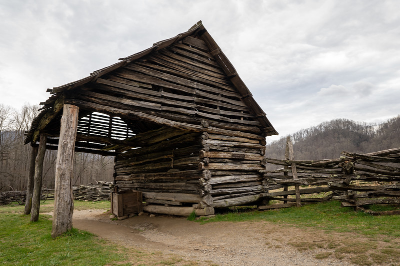 old log stable house in the national park